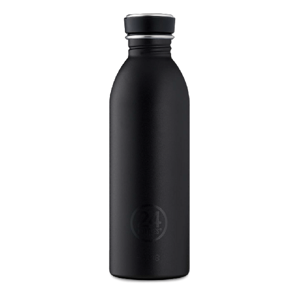 24 Bottles - Urban Bottle 0,5 L - Stone Finish - Tuxedo Black