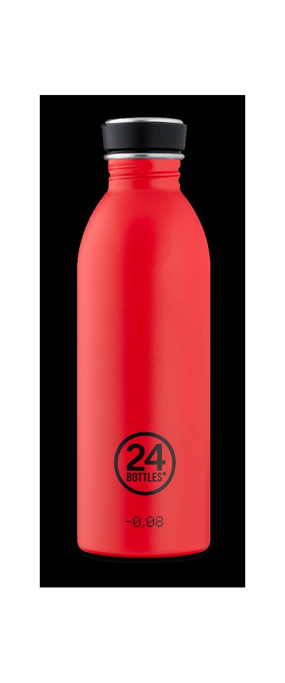 24 Bottles - Urban Bottle 0,5 L - Stone Finish - Hot Red