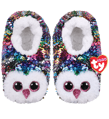 Ty Plush - Sequin Slippers - Owen the Owl (Size: 36-38) (TY95563)