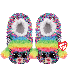 Ty Plush - Sequin Slippers - Rainbow the Poodle (Size: 32-34) (TY95535)