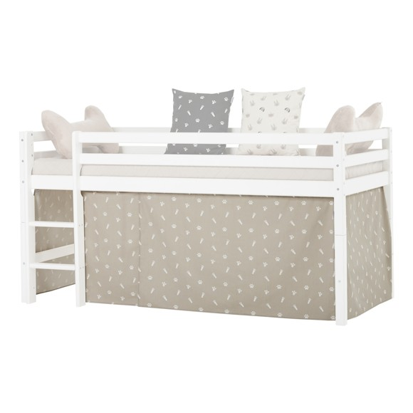 Hoppekids - Play Curtain Half-High Bed 90x200 cm - Pets Silver Cloud