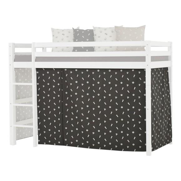Hoppekids - Forhæng til Mellemhøj seng 90×200 cm - Pets Granite Grey