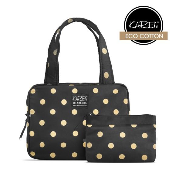 Karen - 2 Pcs Cosmetic Bag Set - Black w. Beige Dots