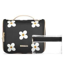 Gillian Jones - Organizer Cosmetic Bag w. Hang-up Function - Black w. Daisy Print
