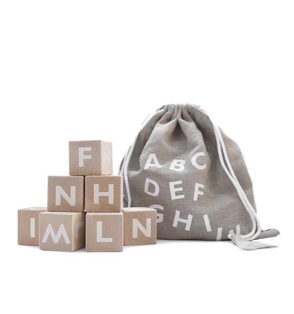 Ooh Noo - Wooden alphabet blocks, white (40AB1502)