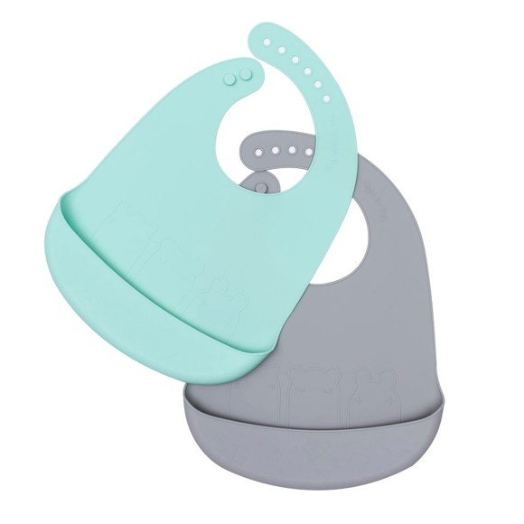 We Might Be Tiny - Catchie Bib 2 packm Mint and grey (28TICB03)