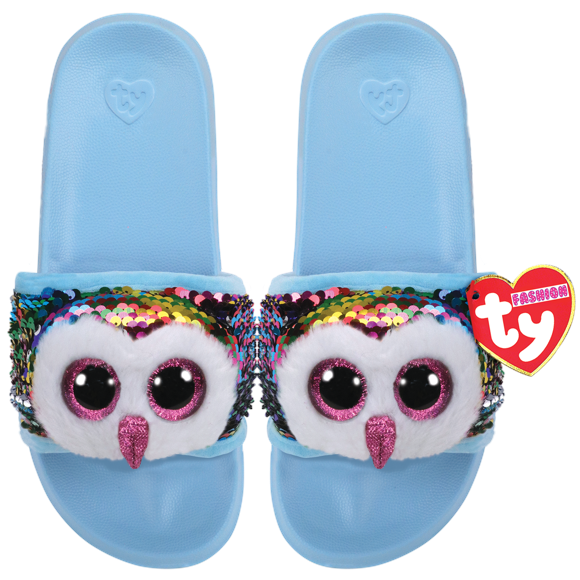 Ty Plush - Sequin Slides - Owen the Owl (Size: 32-34) (TY95633)