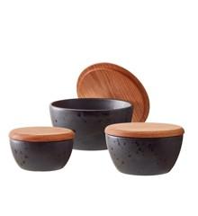 Bitz - Bowl Set With Lid 3 pcs - Black /Black (12485)