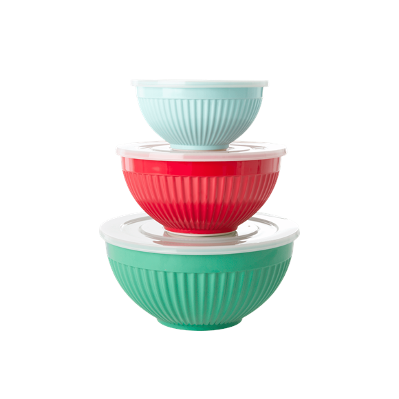 Rice - Melamine Bowls with Lid 3 pcs - Believe in Red Lipstic