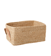 Rice - Raffia Rectangular Basket w. Leather Handle - Nature