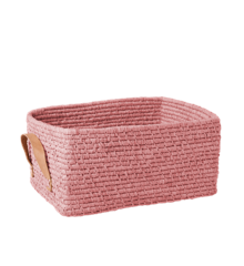 Rice - Raffia Rectangular Basket w. Leather Handle - Soft Pink