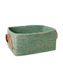 Rice - Raffia Rectangular Basket w. Leather Handle - Mint