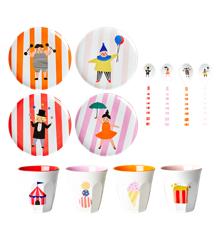 Rice - Børne Melamine Spisesæt i Gaveæske - Circus Print