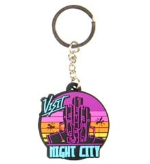 Cyberpunk 2077 Visit Night City PVC Keychain Multicolor