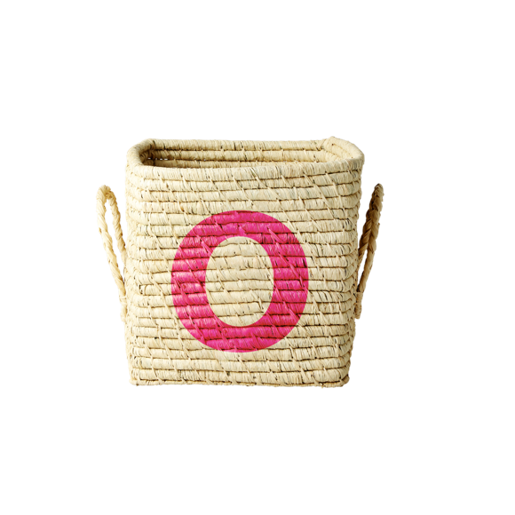 Rice - Raffia Square Basket w. Painted Letter - O