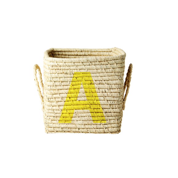Rice - Raffia Square Basket w. Painted Letter - A