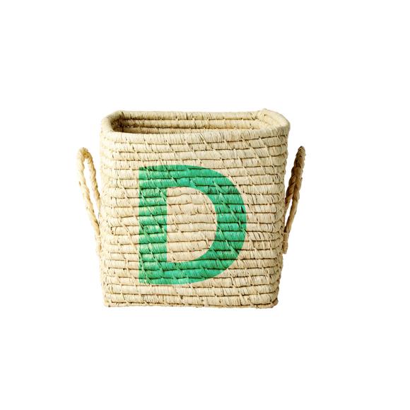 Rice - Raffia Square Basket w. Painted Letter - D