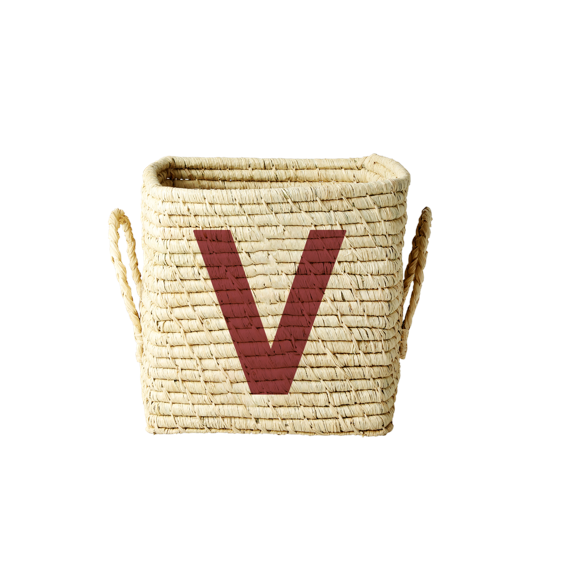 Rice - Raffia Square Basket w. Painted Letter - V