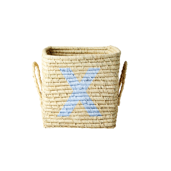 Rice - Raffia Square Basket w. Painted Letter - X