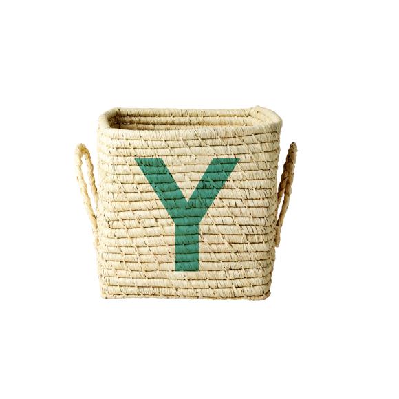 Rice - Raffia Square Basket w. Painted Letter- Y