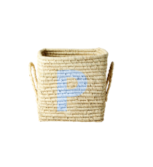 Rice - Raffia Square Basket w. Painted Letter - P