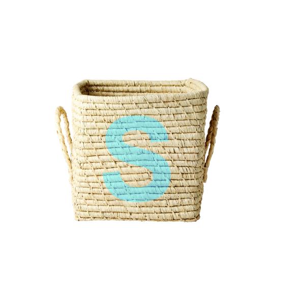 Rice - Raffia Square Basket w. Painted Letter - S