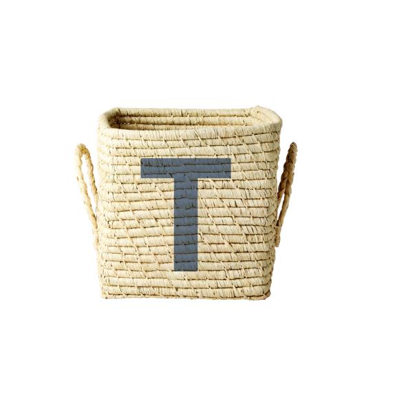 Rice - Raffia Square Basket w. Painted Letter - T