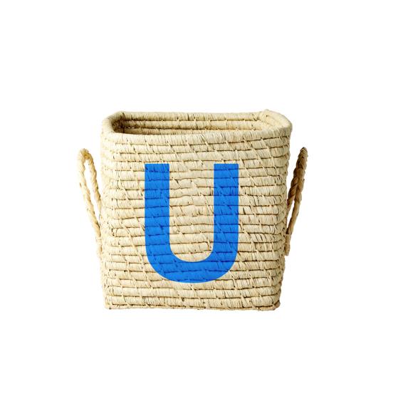 Rice - Raffia Square Basket w. Painted Letter - U