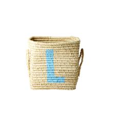 Rice - Raffia Square Basket w. Painted Letter - L