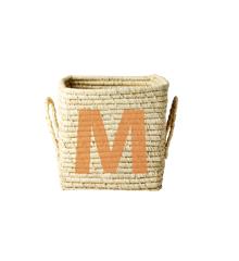 Rice - Raffia Square Basket w. Painted Letter - M