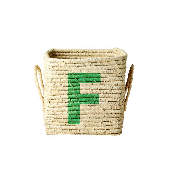 Rice - Raffia Square Basket w. Painted Letter  - F