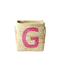 Rice - Raffia Square Basket w. Painted Letter - G
