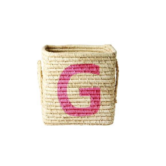 Rice - Raffia Square Basket w. Painted Letter - G