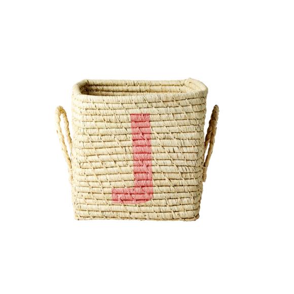 Rice - Raffia Square Basket w. Painted Letter - J