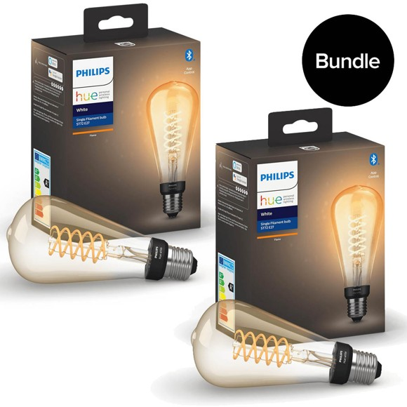 Philips Hue - 2x E27 Filament ST72 Edison - Warm White - Bluetooth - Bundle