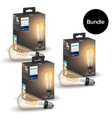 Philips Hue - 3x E27 Filament ST72 Edison - Warm White - Bluetooth - Bundle