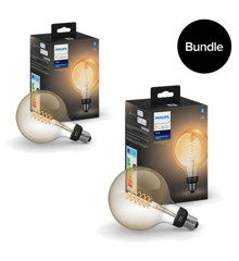 Philips Hue - 2x E27 Filament G125 Globe - Warm White  - Bluetooth - Bundle