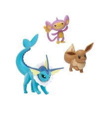 Pokemon - Battle Figure Set 3 pack - Vaporeon, Eevee og Aipom