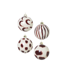 Ferm Living  - Christmas Hand Painted Glass Ornaments Set Of 4 pcs - Red (1006022777)