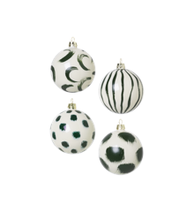 Ferm Living  - Christmas Hand Painted Glass Ornaments Set Of 4 pcs - Green (100602640)