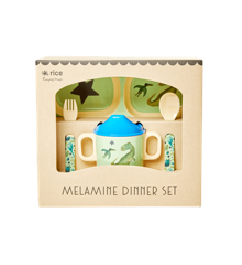 Rice - Melamine Baby Dinner Set Giftbox - Dino Print
