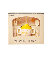 Rice - Melamin Baby Spisesæt - Gaveæske - Guldfiske Print
