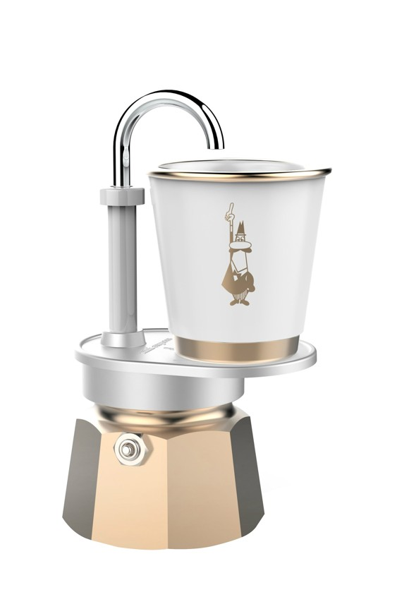 Bialetti - Mini Express Sæt 1 Kop Inkl. Porcelænskopper - Guld