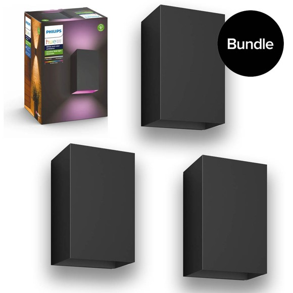 Philips Hue -3x Resonate Wall Light Outdoor -  White Color Ambiance - Bundle