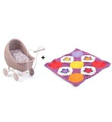 Smallstuff - Doll Stroller Powder + Knitted Doll Blanket