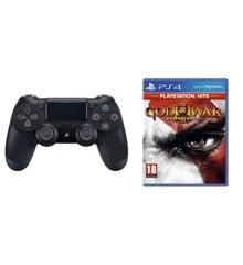 Sony Dualshock 4 Controller v2 - Black + God of War III (3) (PlayStation Hits) (Nordic)