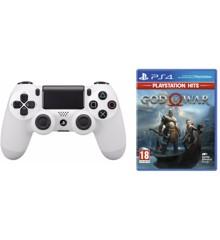 Sony Dualshock 4 Controller v2 - White + God of War (PlayStation Hits) (Nordic)