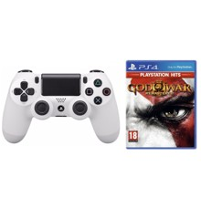 Sony Dualshock 4 Controller v2 - White + God of War III (3) (PlayStation Hits) (Nordic)