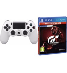 Sony Dualshock 4 Controller v2 - White + Gran Turismo: Sport (PlayStation Hits) (Nordic)
