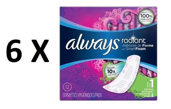 Always - 6 x Radiant Memory Foam Normal 12 Stk